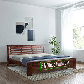 BM WOOD FURNITURE Queen Size Solid Wood Bed (Plywood - Natural Teak)