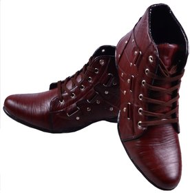 Adiso Men Brown Lace-up Ankle Length Boots