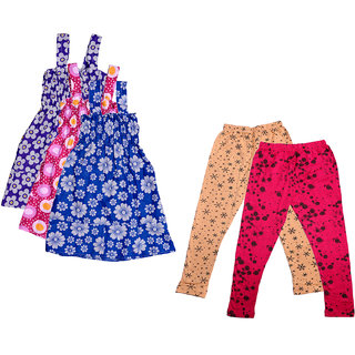 IndiWeaves Girls Printed Frock and Printed Legging (Pack Of 5)