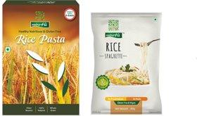 NutraHi Gluten Free Combo - Rice Pasta 2pcs (250g Each), Rice Spaghetti - 3pcs (84gm Each)