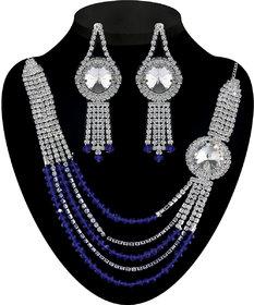JewelMaze Blue Austrian Stone Necklace Set