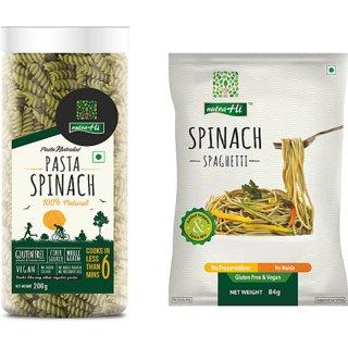 NutraHi Gluten Free Combo- Spinach Pasta 2pcs (200g Each), Spinach Spaghetti - 3pcs (84gm Each)