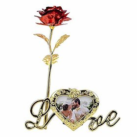 24K RED Golden Rose and Photo Frame Stand with Beautiful Carry Bag (25 cm, RED Gold)