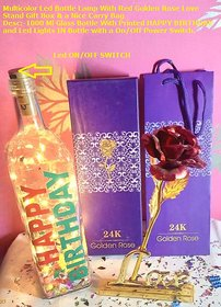 Golden Led Bottle Lamp With Red Golden Rose Love Stand Gift Box  a Nice Carry Bag