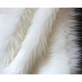 Vardhman Fur Cloth White Polyester Long Hair Size 38 x 34-inches(White)