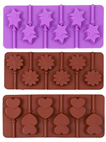 Silicone Bakeware Lolipop Mould for Chocolate amp Ice Cube 6 Cavity each 3 designs ( Heart Star Flower)with 18 lollipop sticks Free
