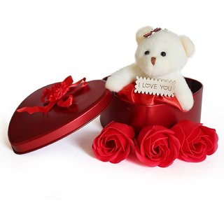 Agarwal Trading Corporation Red Teddy 3 Rose Flower in Beautiful Heart Shape Box Soft Toy, Artificial Flower Gift Set