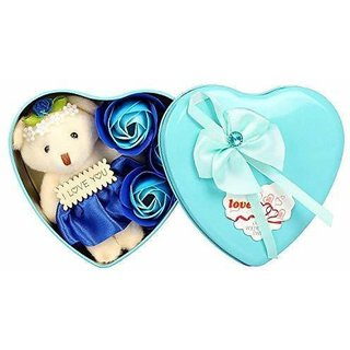 Teddy 3 Rose Flower in Beautiful Heart Shape Box Soft Toy, Artificial Flower Gift Set