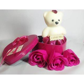 Teddy 3 Rose Flower in Beautiful Heart Shape Box Soft Toy, Artificial Flower Gift Set