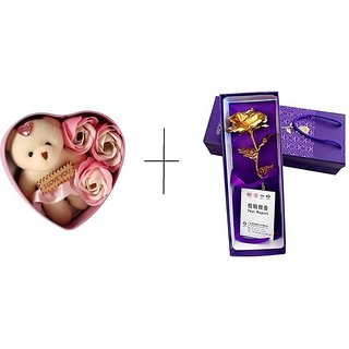 Combo of 24k Golden Rose Flower with and Beautiful Pink Heart Box with 3 Roses and Soft Teddy Bear