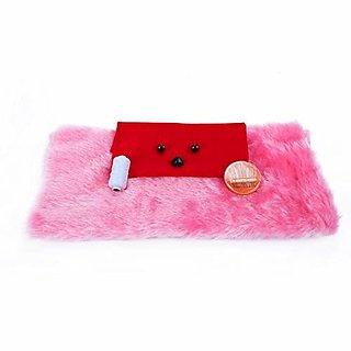 Vardhman Soft Toys Teddy Bear Diy Making Kit Includes Fur Acrylic Cloth 2 Eyes 1 Nose Needle Set Reel Draft (Pink)