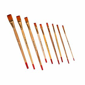 Artist Quality Weldon Flat Brushes 9 Brushes Size- No 1 to 12 High Quality Golden Taklon Bristles Jointless Golden Ferrule