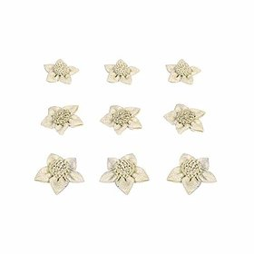 Jute flower hand made pack of 9 flowers used in suits dresses decorations furnishings art amp craft
