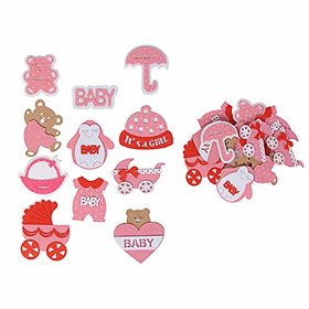 Baby Shower Decoration amp Gift Packaging Felt 3D Cutouts Motifs Pink Color Mix Pack of 24 pcs