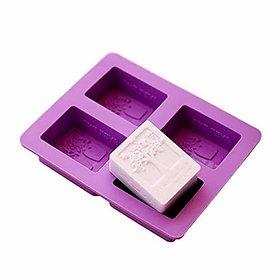 Vardhman 4 Cavities Rectangle Happiness Life Tree Silicone Soap Chocolate Fondant Sugar bakeware Mold