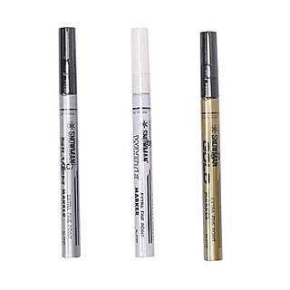 Permanent Paint Marker Oil Based Fine Tip Pack of 3 Mettalic shadesWrite On Any Surface (Metal Glass Wood Plastic Rubber Painted Surfaces)