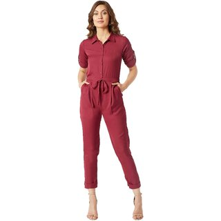 Miss Chase Women's Maroon Cherish Your Love Tie-Up Jumpsuit