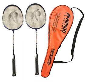 Hipkoo Professional Racket with Cover (Set of 2) Multicolor Strung Badminton Racquet