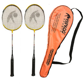 Hipkoo Wide Body Professional Racket with Cover(Set of 2) Multicolor Strung Badminton Racquet