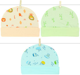 00907d2c Neska Moda Baby Boys And Girls Pack Of 3 Multicolor Cap For 0 To 3 Months