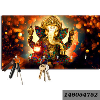 Ganesh Ji Wooden Key Holder(23.4Cmx12.8Cmx3Cm)