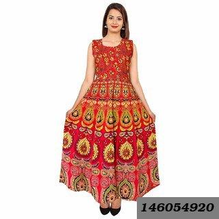 Women'S Jaipuri Traditional Multicolor Printed Dress