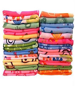 Pack of 12 Cotton 3D Printed Multicolor Face Towel (25 cm x 25 cm)