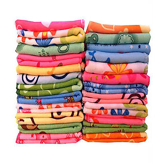 Pack of 12 Cotton 3D Printed Multicolor Face Towel (25 cm x 25 cm)