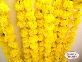 AV Reusable Marigold/Genda Flower Garland for Decoration Orange Marigold Artificial Flower  (56 inch, Pack of 10 )