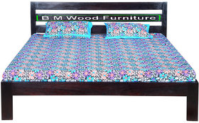 BM Wood Furniture Sheesham Wood Bed for Bedoom  Queen Size  Solid Bed Bed  Mahogany Brown Finish