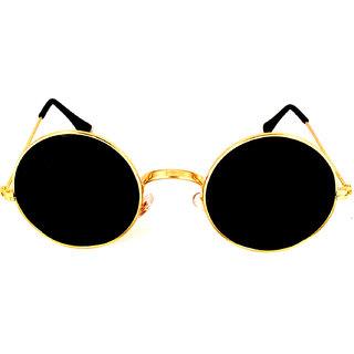 Aligator Black UV Protection Round Unisex Sunglasses