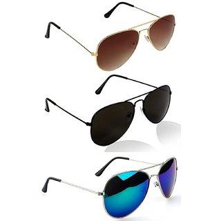 Derry Full Rim Metal Pack of 3 Aviator Sunglasses