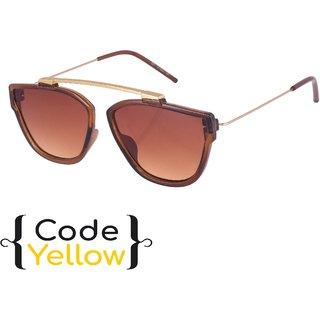 Code Yellow UV Protected Brown Wayfarer Sunglasses For Men And Women