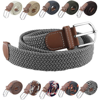 Canvas Woven Leather Strechable Pin-Hole Buckle Belt up to 44 inches