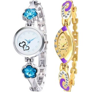 True Colors Blue Flower Crystal Blue Minna Analog Combo Watch For Girls Watch