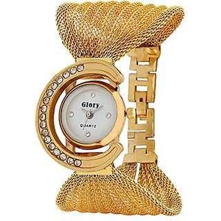 Prushti  Golden Glory Julo/Jaal analog Watch - For Girls and Women