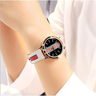 Popmode Rose Gold Dial White Strap Women's Fashion Analog Watch