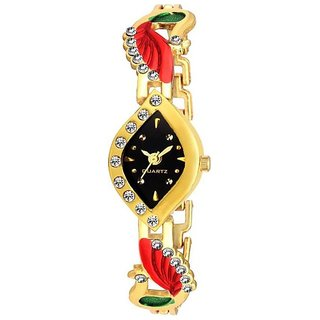 Loretta Peocock Metal Gold Color Analog Watch for Women