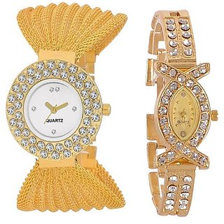 Varni Retail Double Diamond White Dial And AKS Girls Wrist Watch Combo For Women