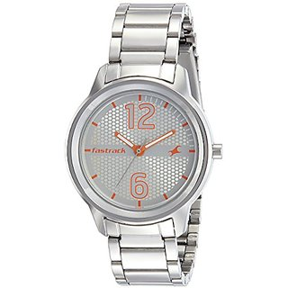 Fastrack Loopholes Analog Silver Dial Womens Watch-6169SM01