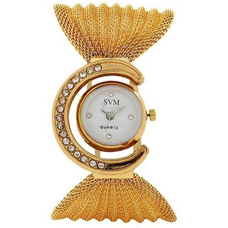 Glory Round Dial Gold Metal Strap Watch for Women