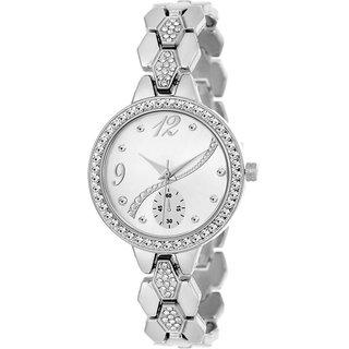 True Colors Silver crystal bracelet Analog Watch For Women