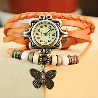 1M Round Dial Orange Leather Strap Analog Watch for Women