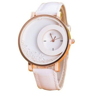 Women Wadding New Leather Dimond Dial White Girls watch by miss
