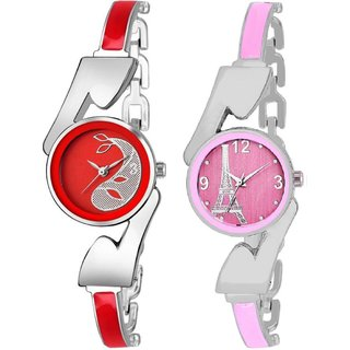 True Colors Awesome Pink And Red Fashionable Analog combo Watch - For Women