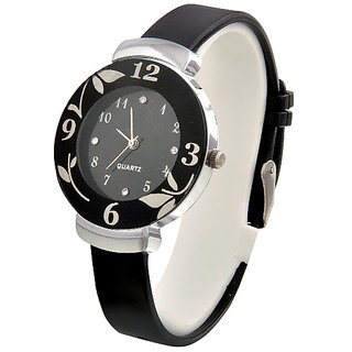IDIVAS Round Dial Black PU Strap Analog Watch For Women