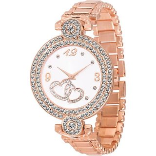 Skmi New  902  Rose Gold Metal Studed Diamond Case For Women Watch Watch - For Girls