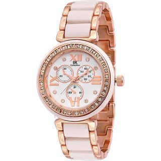 IIk Rose Golden White Best Designing Stylist Analog Watch For Women ,Girls