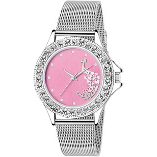 New  LADIES - Pink Dial-SHAFFER Chain Watch - For Women