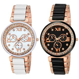 Mega Women Combo Deals Analogue Watch For women And Girls Black Rose Gold Diamond Watch